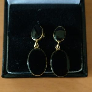 Jewelry - 14k Yellow Gold and Onyx Drop Earrings